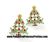 """Set of 2- Christmas Tree Sliders- Approximately (25mm= Approx  1"""") Rhinestone Center, Christmas Rhinestone, Christmas Tree Rhinestone"""