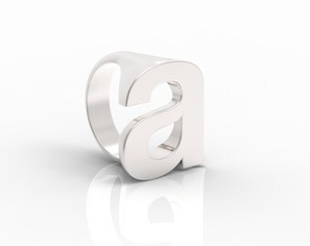 Helvetica Letter A Ring in Sterling Silver.