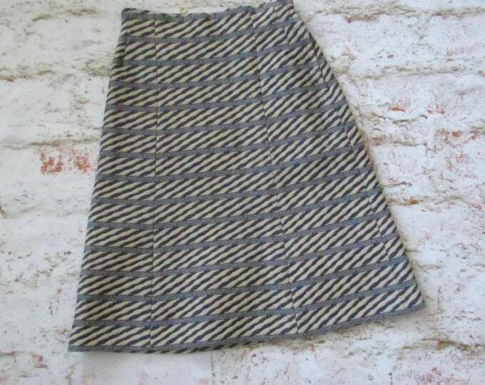 striped high waist vintage 70s 1970s midi length preppy centennial era polyester fitted school girl hipster skirt small