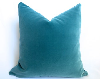 Belgium Cotton Velvet Pillow Cover - Teal - 20 inch - Turquoise Velvet - Teal Pillow - Turquoise Decorative Pillow - Velvet Pillow