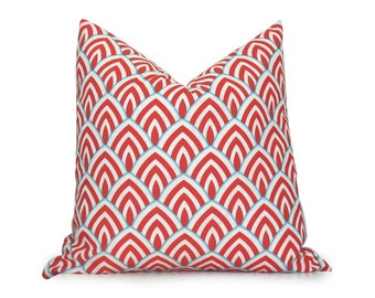 Scallop Outdoor Decorative Pillow Cover - Turquoise - Coral RED - White - More Sizes - Modern Pillow - Turquoise Pillow - Geometric Pillow