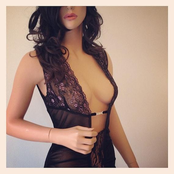 Floor Length Dress Sheer Black Slip Dress Lace CHRISST