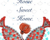 Home sweet home print, new home print, housewarming gift, living room, wall decor, couples gift, hostess gift,fish print