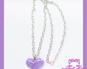 Glittery Purple Necklace w/ Silver Chain