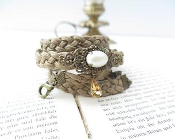 Wedding Dress Sash , Skinny Bridal belt– Cream Pearl  Bridal Belt with Brass Buckle and Swarovski Bead by TalilaDesign