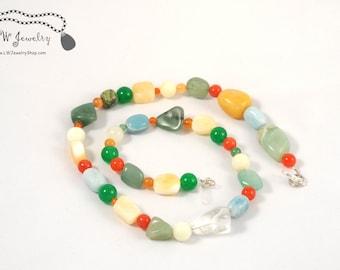 Yellow,  Orange, Green, Necklace,  Multigemstone, beads, simple necklace, everyday necklace, Beaded Necklace, gift for her, handmade jewelry