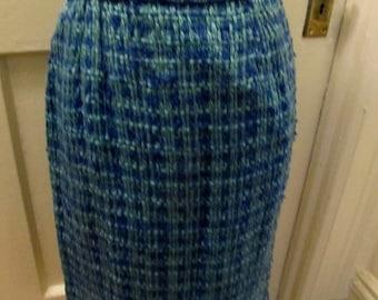 60's Bold Tweed Pencil skirt Peppy Beautiful Blues Size M