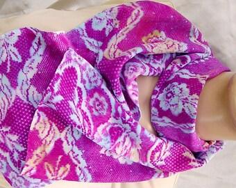 Silk Crepe Scarf hand painted Plum Floral Lace unique wearable art women fashion