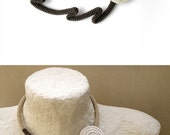 Abstract Dandelion Choker Necklace, Crochet Tube Wrapped Bloom