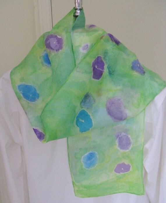 Hand painted silk scarf floral cornflower blues purple mint green  8x54 long scarf Canada design
