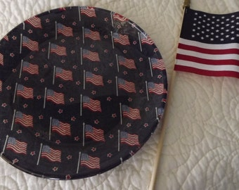 Glass Serving Decorative Plate Covered With American Flags Fabric