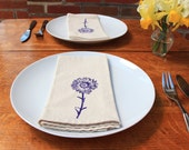 Cotton Napkins - Daisy Flower hand screen printed set of 2 dinner napkins - ecofriendly - reusable napkins for your table setting