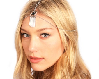 Boho Chain Headpiece / Silver Gypsy Headpiece / Boho Hair Jewelry / Bohemian Chain Headband / Kristin Perry