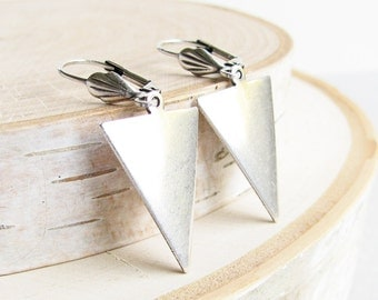 Silver Triangle Earrings - Silver Plated Everyday Earrings, Modern Jewelry, Simple Silver Dangle Earrings, Geometric Jewelry, Casual Jewelry