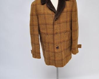 vintage wool PENDLETON wool coat jacket hunting plaid shadow large