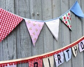 Fabric Bunting Flags Country Fair Gingham and farm flowers