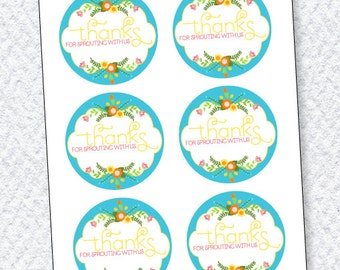 Flower Party PRINTABLE Favor Tag (INSTANT DOWNLOAD) by Love The Day