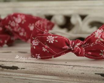 Newborn Headband - Retro Headband - Red Floral Pattern - Newborn Photography Prop