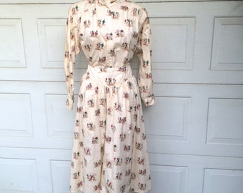 Victorian Ice Skaters Novelty Print Skirt and Matching Top Set Maxi Circle Skirt and Oversized Blouse 80s 90s Vintage Medium Lizsport