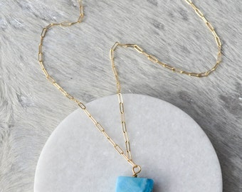 Blue Crazy Lace Agate Everyday Necklace, Jewelry, Gold or Silver, Womens