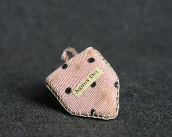 Agnus Dei precious relics. Vintage polka dots pink lovely scapular.