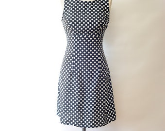 Vintage 90's Black and White Polka Dot A Line Mini Dress / Short Dress