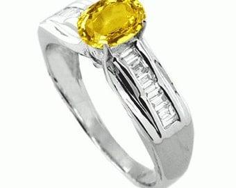 yellow sapphire  diamond ring  18k white gold