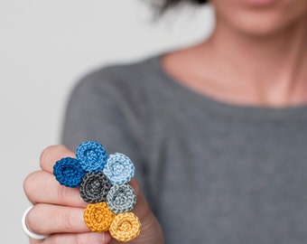 Crocheted circles brooch. Blue and yellow tones. Textile jewelry. Organic forms. Crochet Jewelry. Romantic Jewelry.  Fiber Brooch.