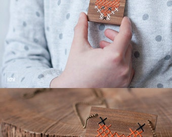 FOX. Wooden necklace for kids. Natural wood necklace. Pendant of square wooden with embroidered FOX · Cross-stitch. Eco-Friendly Jewelry