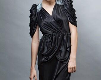 peplum dress  disco vintage 80s party black silver metallic lurex slinky soft ONE SIZE S M L small medium large