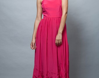 vintage 70s dress, pink sun dress, fuschia dress, shoulder straps midi XS S extra small / small