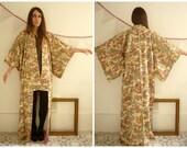 Vintage Japanese Abstract Landscape Pattern Full Length Kimono Robe Duster Jacket