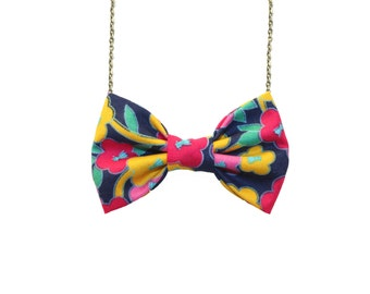 Floral Yellow Blue Bow Tie Necklace, Girls Bowtie Accessory, Vintage Bow Necklace