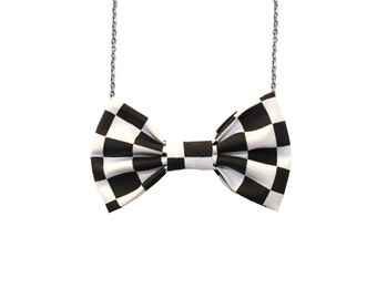 Racing Flag Bow Tie Necklace, Black and White Checkered, Bowtie Pendant for Women and Girls Nascar Race Accessory
