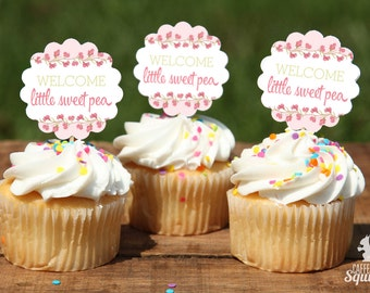 Welcome Little Sweet Pea Cupcake Picks, Perfect for Baby Showers, Sweet Pea, Girl, Pink, Green