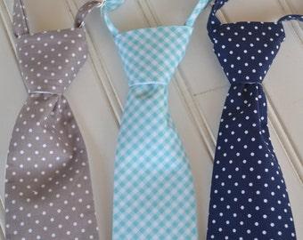 Little Boys Ties - Grey Dot, Aqua Gingham, Navy Blue Dot - Graduation, Wedding, Ringbearer