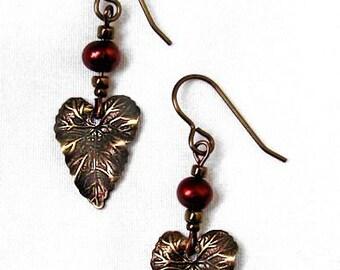 Bronze Leaf Heart Earrings