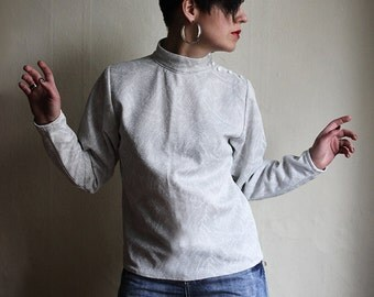 Silver White Crimplene Blouse - posh brocade 1970ies tutleneck top