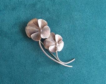 vintage sterling silver Pansy brooch pin by Stuart Nye