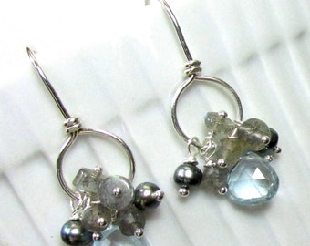 Sterling Silver Earrings with Swiss Blue Topaz and Labradorite Dangles - Artisan Handmade Earrings