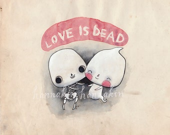 Love is Dead - ORIGINAL illustration - skeleton ghost undead romance cute macabre sweet ghostly skeletal hug happy gruesome pink black white