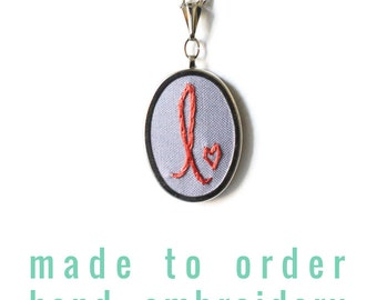 Embroidered Initial Necklace. Custom Jewelry Mom Necklace. Initial Pendant Personalized. Colorful Jewelry for Teen Girls. Hand Embroidery.