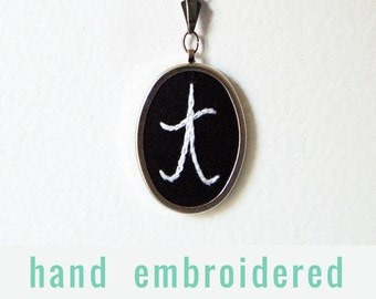 Gifts for Coworker, Initial Pendant. Custom Jewelry Gifts for Her. Embroidered Initial Necklace. Monogrammed Gifts Under 50. Small Gifts.