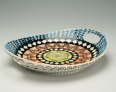 Colorful Tray with Cut Out Handles Hand Painted