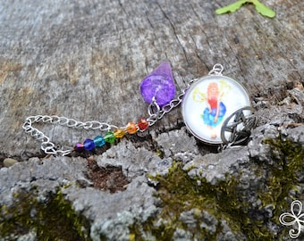 Iris Purple Crackle Pendulum