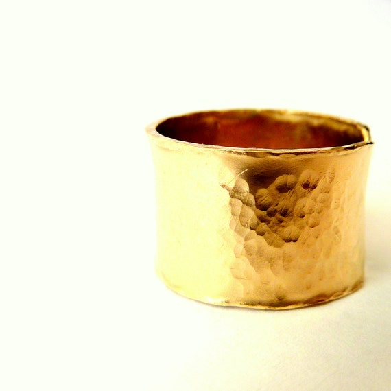 Wide Gold Ring - Band Ring - Statement Ring - Textured Cigar Band Ring - Unisex Ring - Urban Look Ring - Handmade Rings - Venexia Jewelry