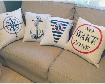 SALE Nautical or Monogrammed Throw Pillow Covers