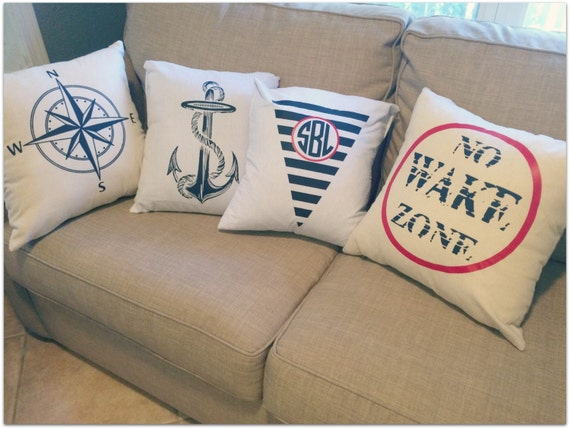 Monogrammed Throw Pillow Covers : SALE Nautical or Monogrammed Throw Pillow Covers