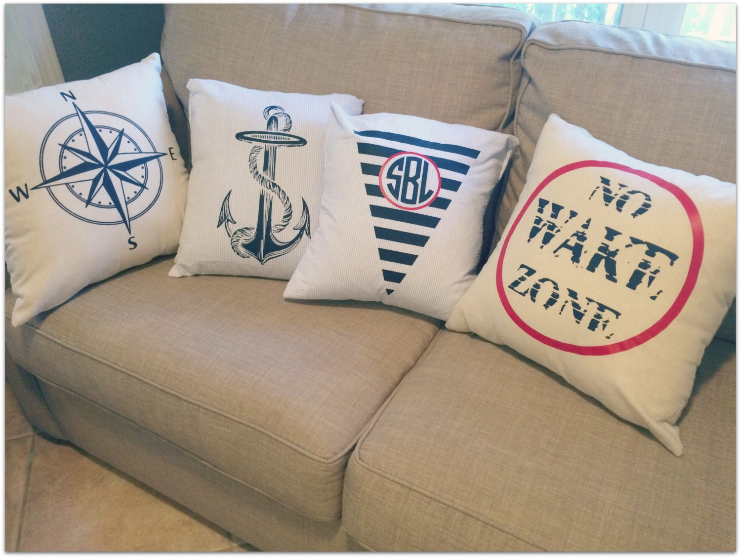 Throw Pillow Covers Nautical : SALE Nautical or Monogrammed Throw Pillow Covers