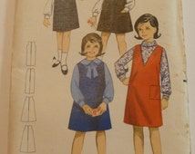 Vintage Butterick 3235 Girls Retro Jumper Size 6 Breast 24 Sewing Pattern 1960s/1970s